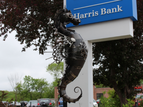 """Seahorse,"" a piece situated on Eau Claire's Water St. that was created by Crysten Nesseth of Cameron, WI. The sculpture is priced at $10,000. © 2016 Zachary Katz"