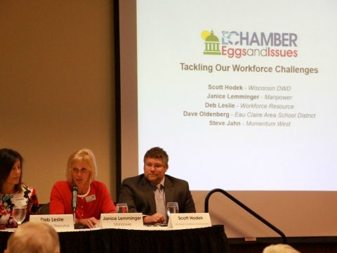 Janice Lemminger, center, board chair of the Chippewa Falls Area Chamber of Commerce and executive vice president of Manpower, talks about how collaboration among businesses and educators can help with attracting and retaining the local workforce.