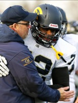Isiah Cage and Former Head Football Coach Todd Glaser developed a strong bond as professionals and friends. ©2015 Blugold Athletics, Chico La Barbera