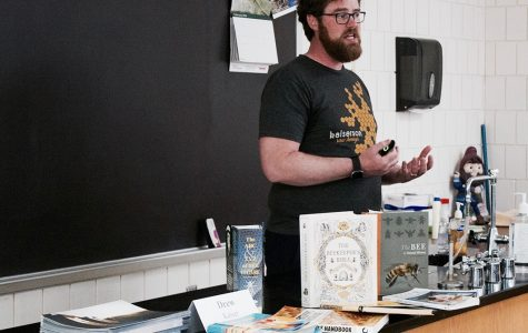 Drew Kaiser teaches The Local Life of Bees, a current class offered through Continuing Education. With four total sessions, the class explores beekeeping, plants that help bees flourish, as well as art and other uses of honey-based products in everyday life. © 2018 Elizabeth Gosling