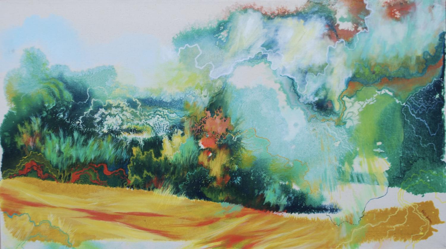 Seasonal Resurgence by Holli Jacobson, a local Eau Claire artist who paints about climate change.