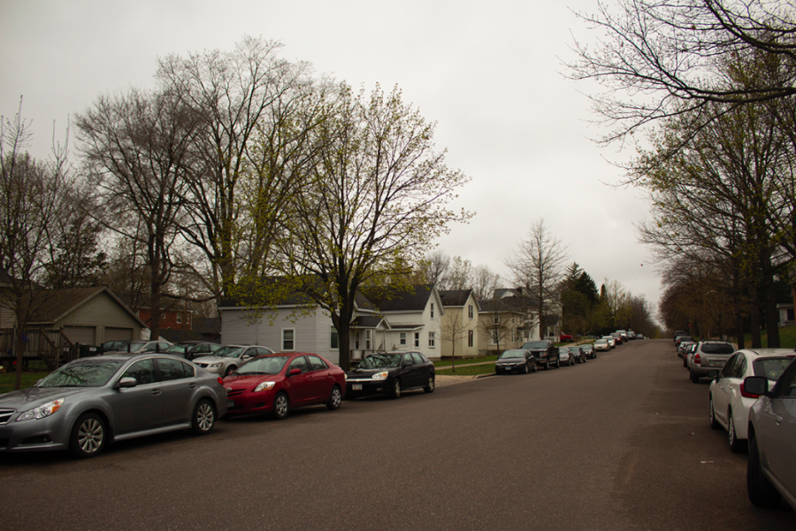 About 6,600 students live off campus at UW-Eau Claire, many of which live in the Randall Park neighborhood, pictured above. Of those 6,600, many will face temporary homelessness at the end of May before their new leases begin in June.
