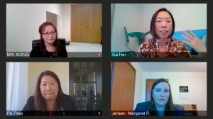 Four women attend a viral panel.