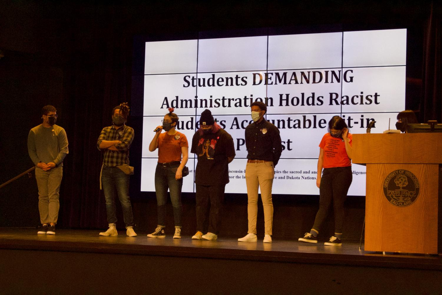 Student organizers introduce themselves to the crowd. ©2021, Natalie Leonardelli